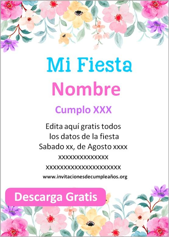 Invitación para Cumpleaños Flores