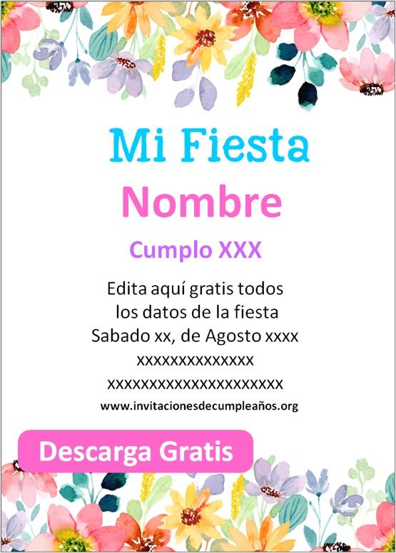 Invitaciones de flores para editar gratis