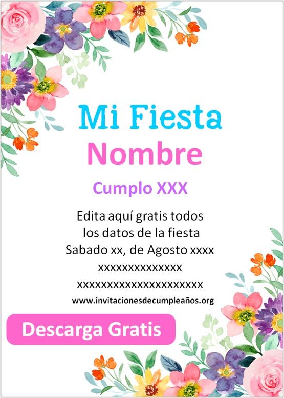 invitaciones de flores para niñas