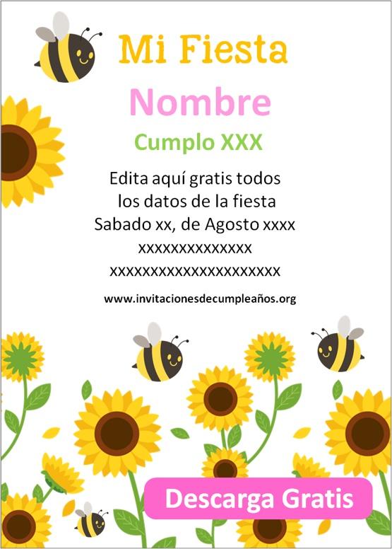 Invitaciones de cumpleaños de Girasoles