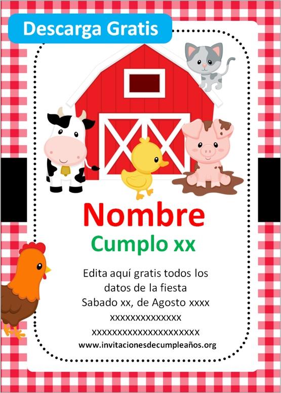Invitaciones de cumpleaños de Granjita