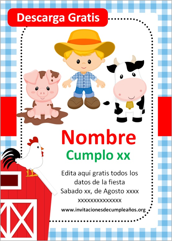 tarjetas de cumpleaños de la granja para editar