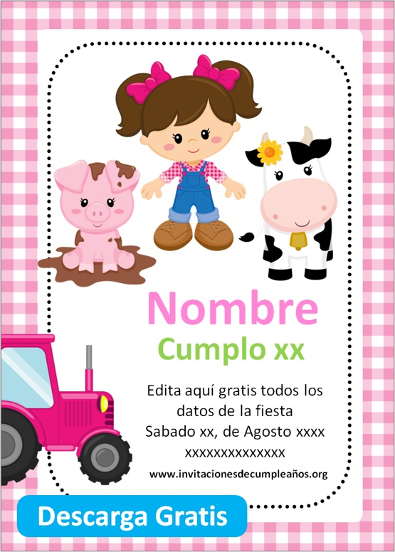 invitaciones de cumpleaños de granja