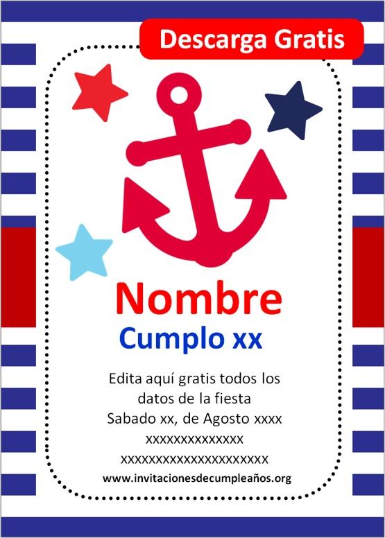 invitaciones de marinero