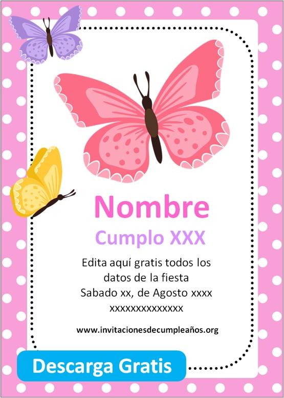 invitaciones de mariposa