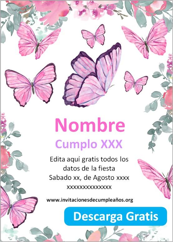 Invitaciones de Mariposas para imprimir