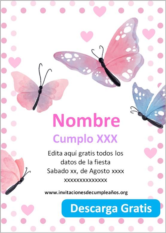 invitaciones de cumpleaños para editar de mariposas