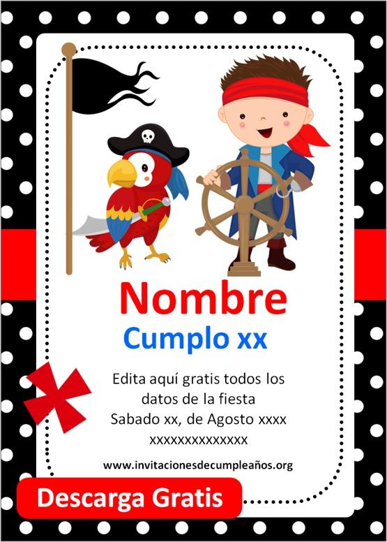 Invitaciones de cumpleaños de piratas