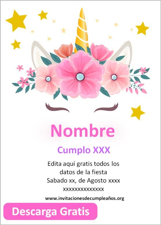 invitaciones de unicornio para cumpleaños