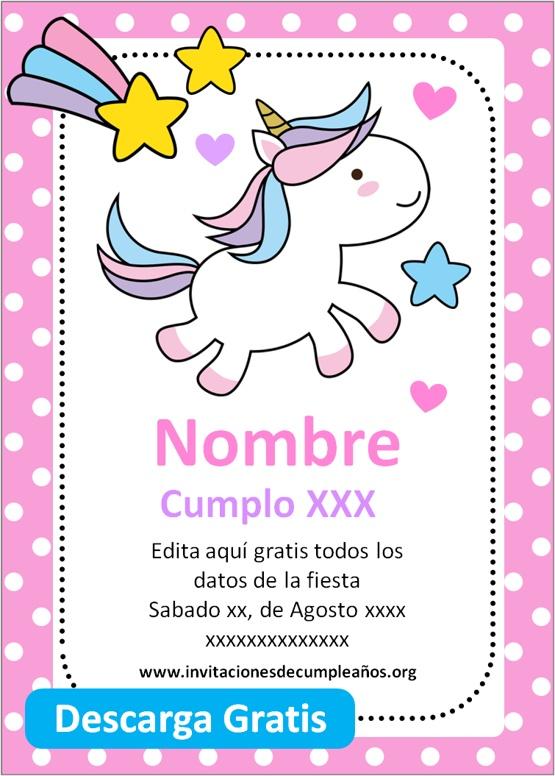Invitaciones De Cumpleaños De Unicornio Gratis