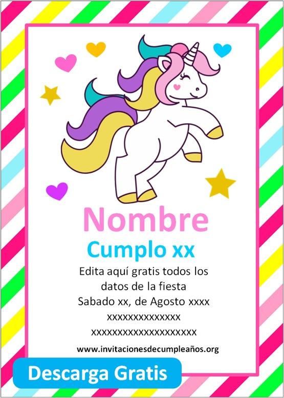 invitaciones de cumpleaños de unicornio para editar