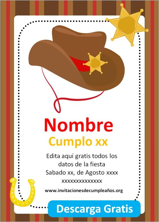 invitaciones de cumpleaños para niños de vaqueros