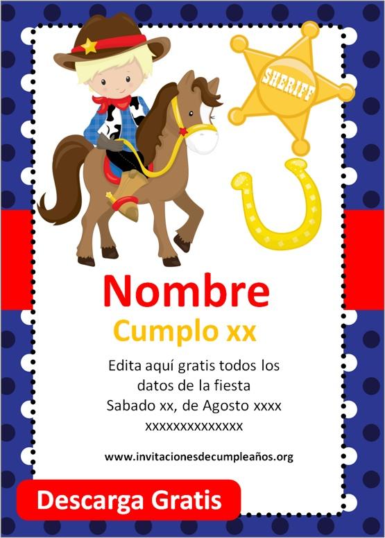 invitaciones de vaqueros para niños
